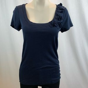 J. Crew Navy Fitted T-Shirt with Neckline Detail M